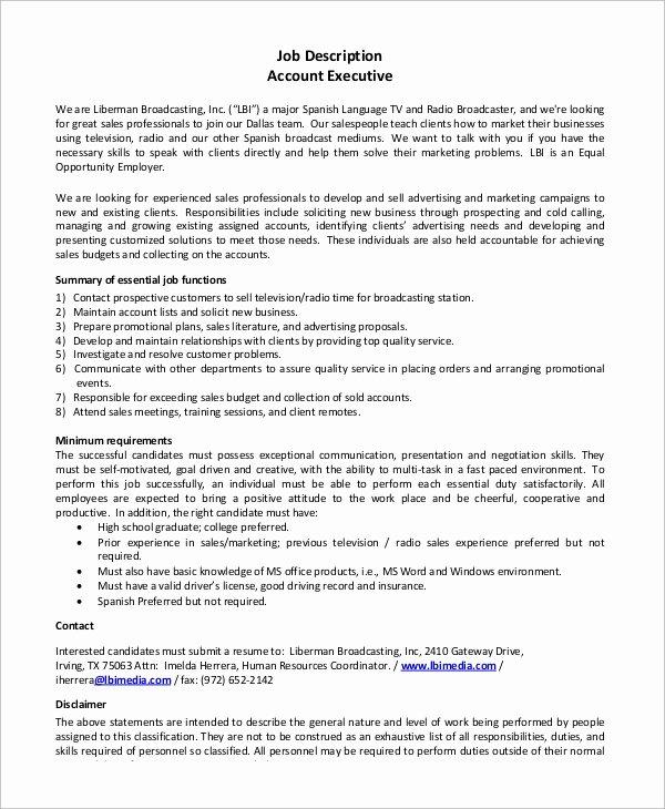 Senior Accounts Manager Job Description Fresh Sample Accounting Job Description 8 Examples In Pdf
