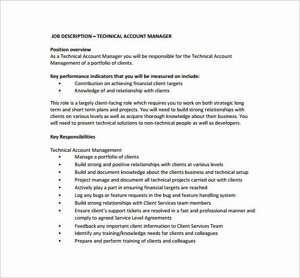 Senior Accounts Manager Job Description Luxury 11 Account Manager Job Description Templates Free