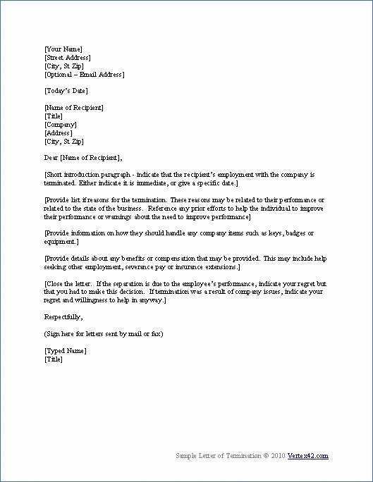 Separation Letter to Employee Elegant Sample Separation Letter From Employer