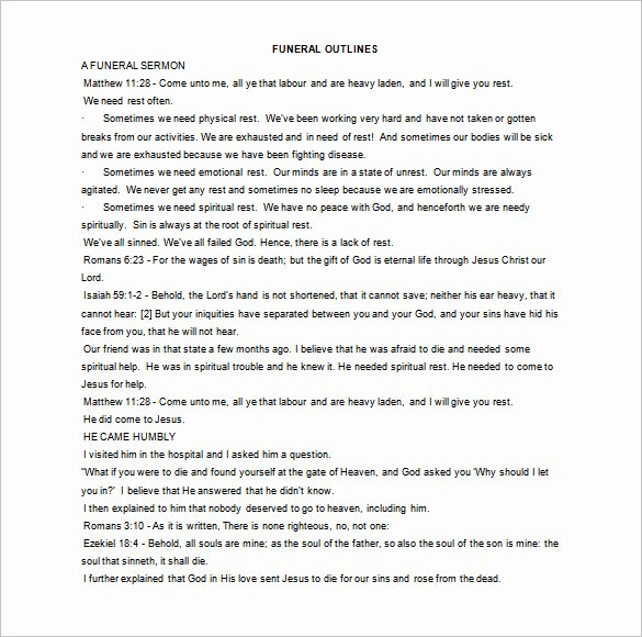 Sermon Template Microsoft Word Best Of Sermon Outline Template 9 Free Sample Example format
