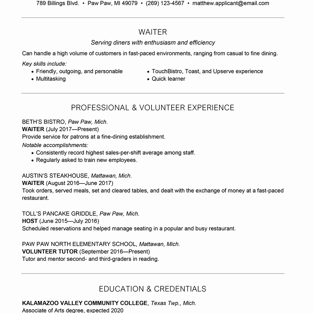Server Cover Letter Example Fresh Waiter Waitress Resume and Cover Letter Examples