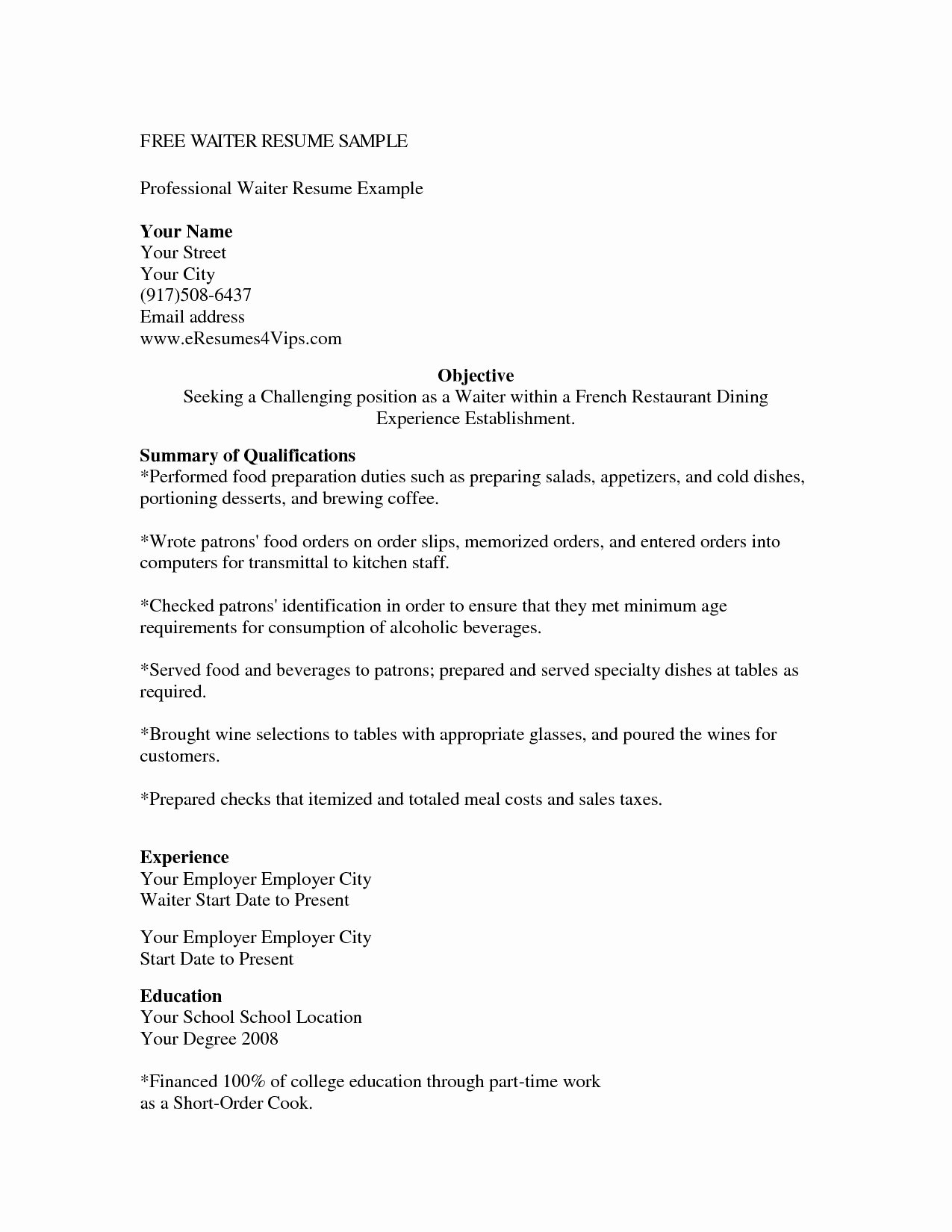 Server Cover Letter Example Luxury Cover Letter Resume for Waitress Position Example within
