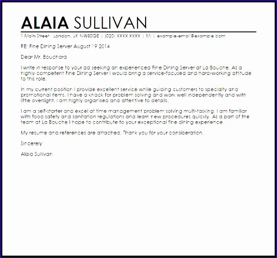 Server Cover Letter Examples Awesome 8 Excellent Cover Letter Templates Exceltemplates