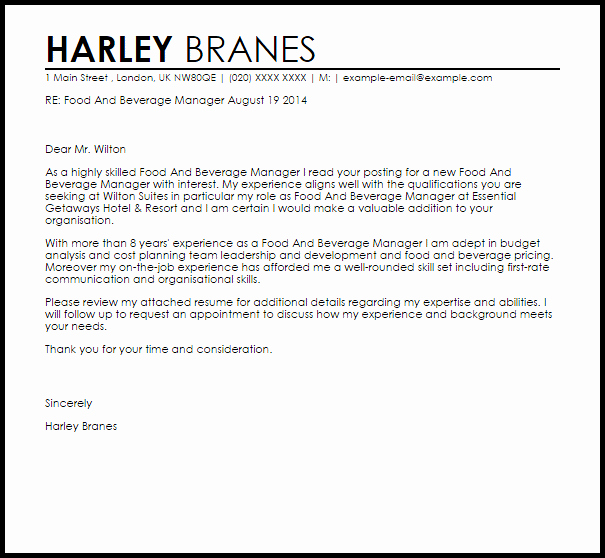 Server Cover Letter Examples Lovely Food and Beverage Server Cover Letter Exactly How to
