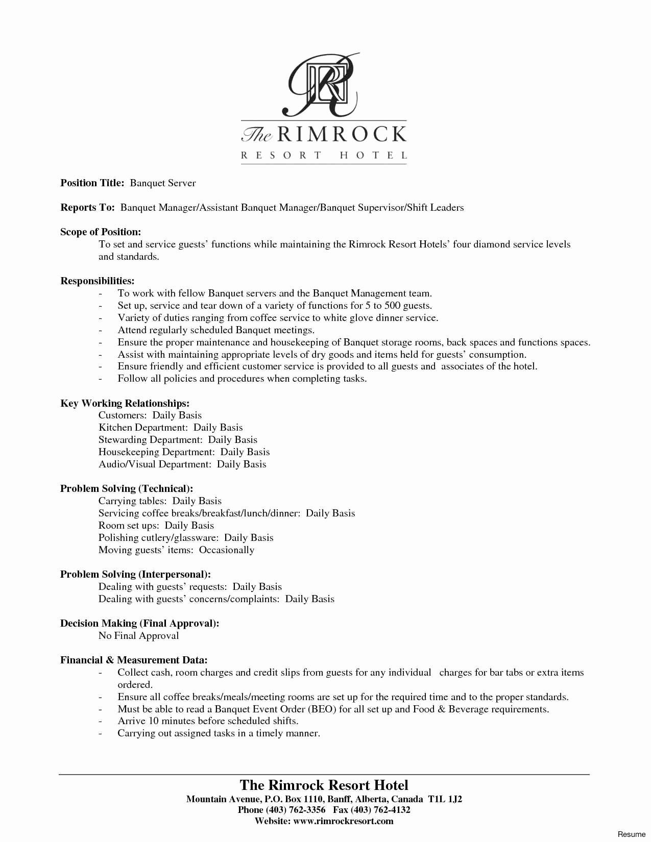 Server Cover Letter Examples New 54 New Image Sample Resume for Restaurant Crew