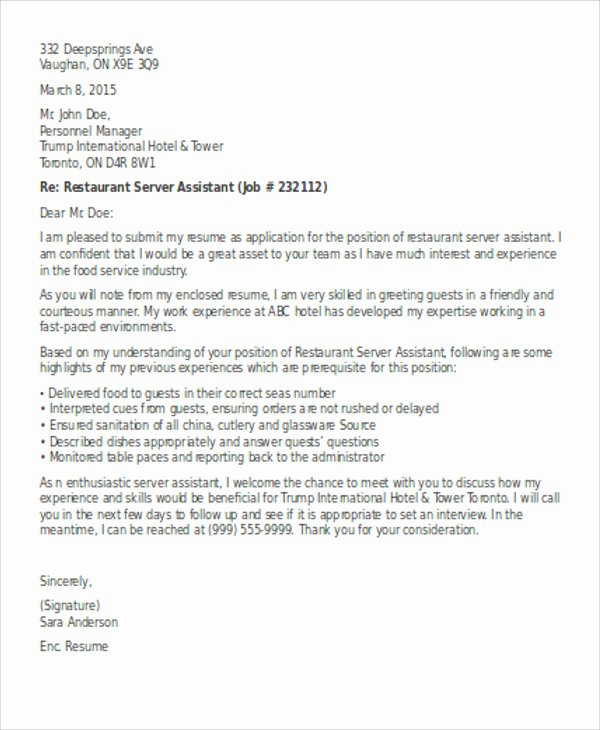 Server Cover Letter Examples New 7 Server Cover Letter Templates Free Sample Example