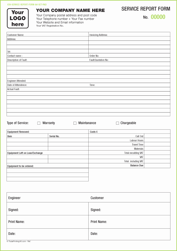 Server order Pad Template Beautiful Free Service Report Pads Templates
