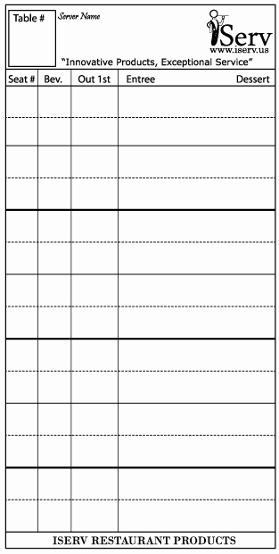 Server order Pad Template Fresh iserv order Pads Products