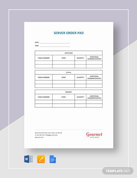 Server order Pad Template Unique Server order Pad Template Download 129 Planning and