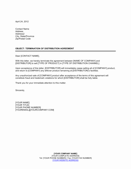 Service Agreement Termination Letter Best Of Contract Termination Letter