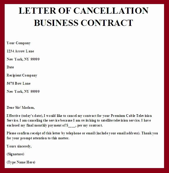 Service Agreement Termination Letter Fresh Contract Termination Letter