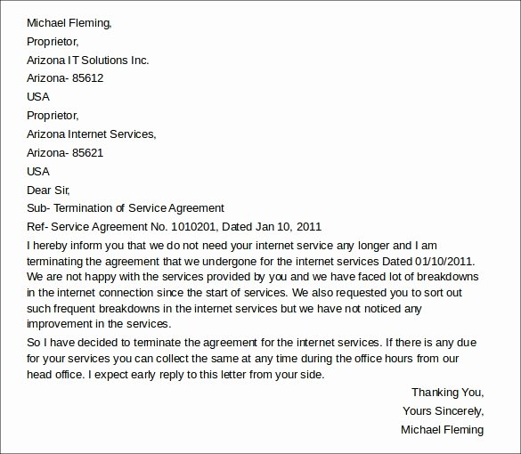 Service Agreement Termination Letter New 11 Termination Of Services Letters Doc Apple Pages