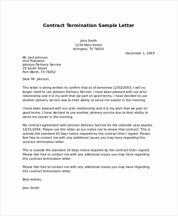 Service Contract Termination Letter Template Inspirational Sample Termination Letter 9 Examples In Pdf Word