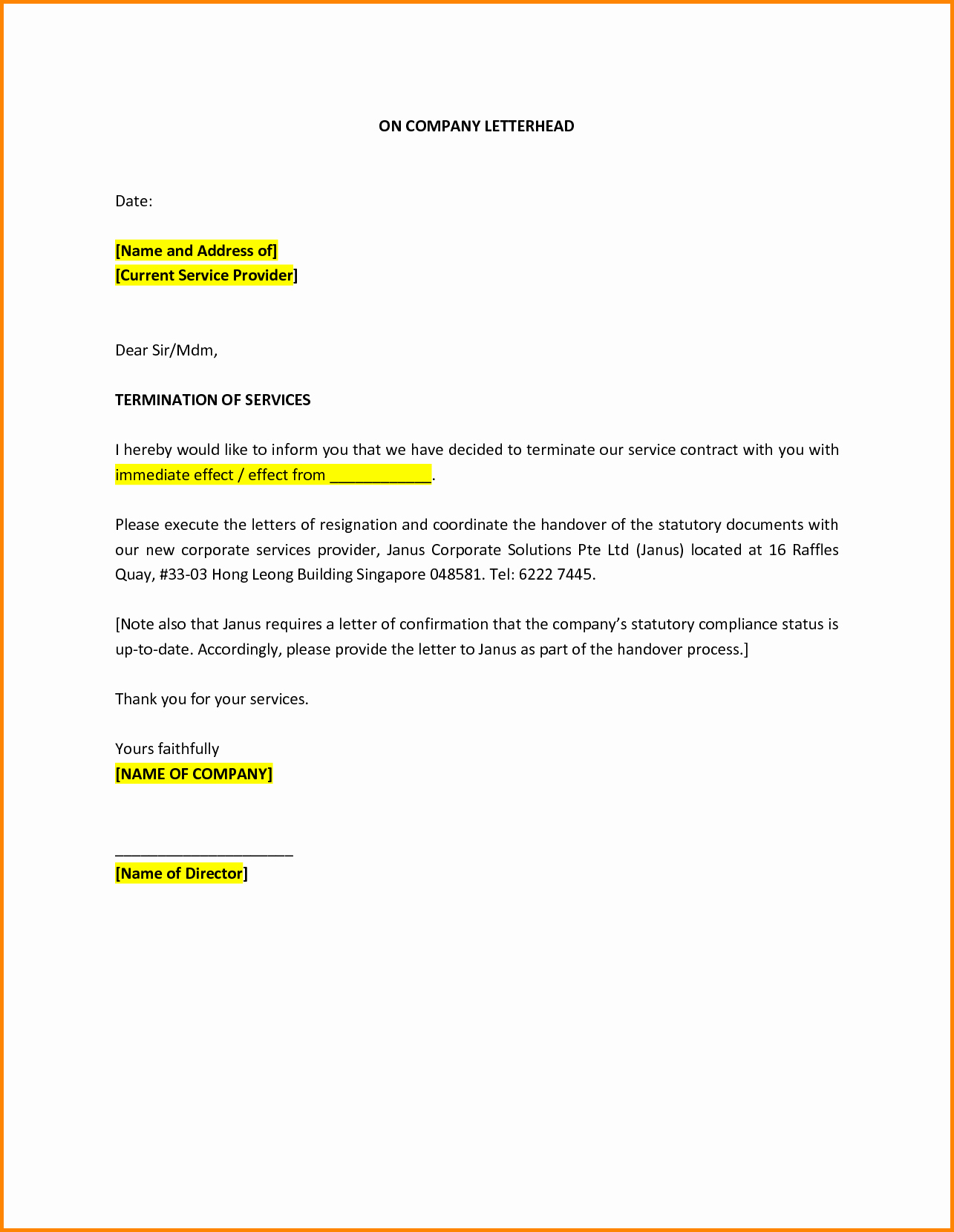 Service Contract Termination Letter Template Luxury Sample Letter Termination Service Provider