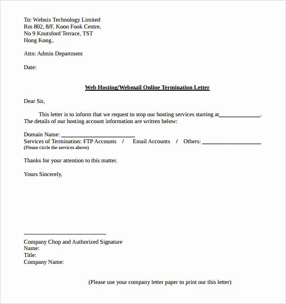 Service Contract Termination Letter Template New 9 Service Termination Letter Templates Word Pdf