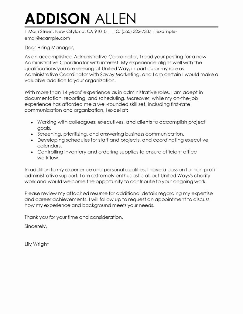 Serving Cover Letter Example Elegant Administrative Coordinator Cover Letter Examples