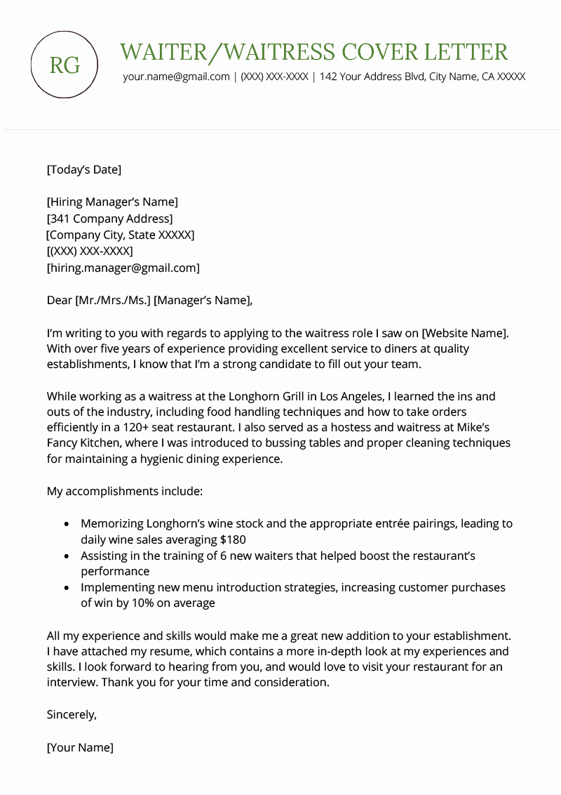 Serving Cover Letter Example Lovely Waiter Waitress Cover Letter Sample