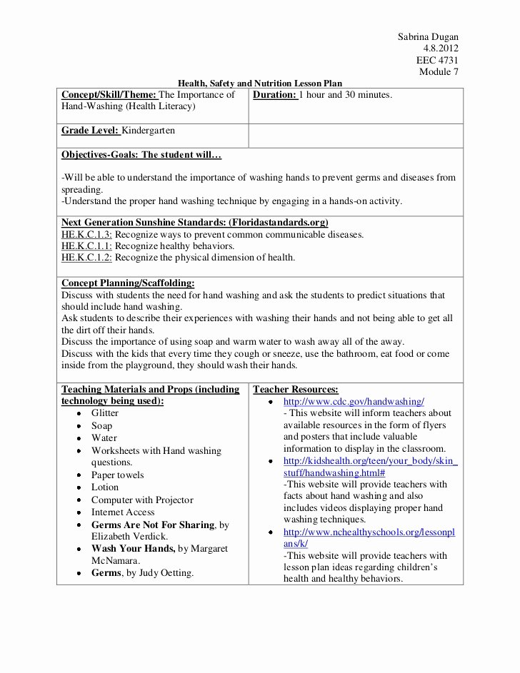 Seven Step Lesson Plan Awesome Sabrina Handwashing 4731 Mod 7