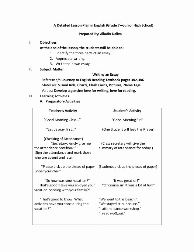 Seven Step Lesson Plan Inspirational A Detailed Lesson Plan In English