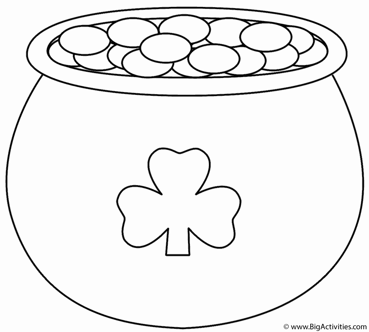 Shamrock Pictures to Print Inspirational Pot Of Gold with Shamrock Coloring Page St Patrick S Day