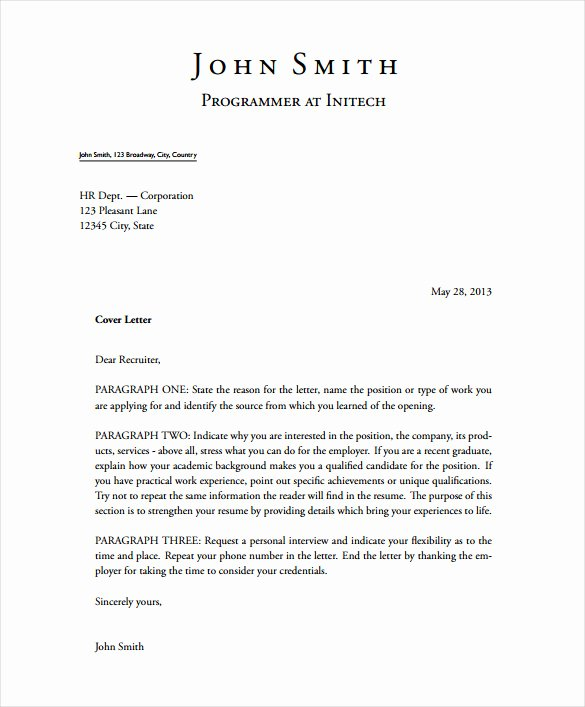 Short Cover Letter Example Fresh 5 Latex Cover Letter Templates Free Sample Example