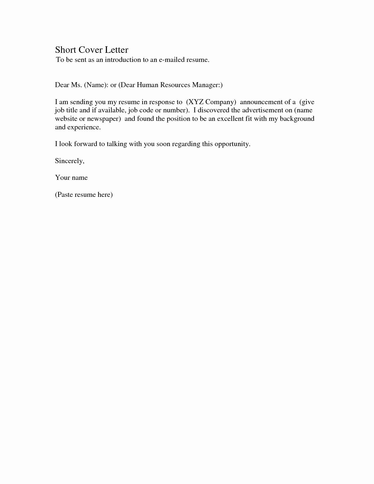Short Cover Letter Example Lovely Short Cover Letter