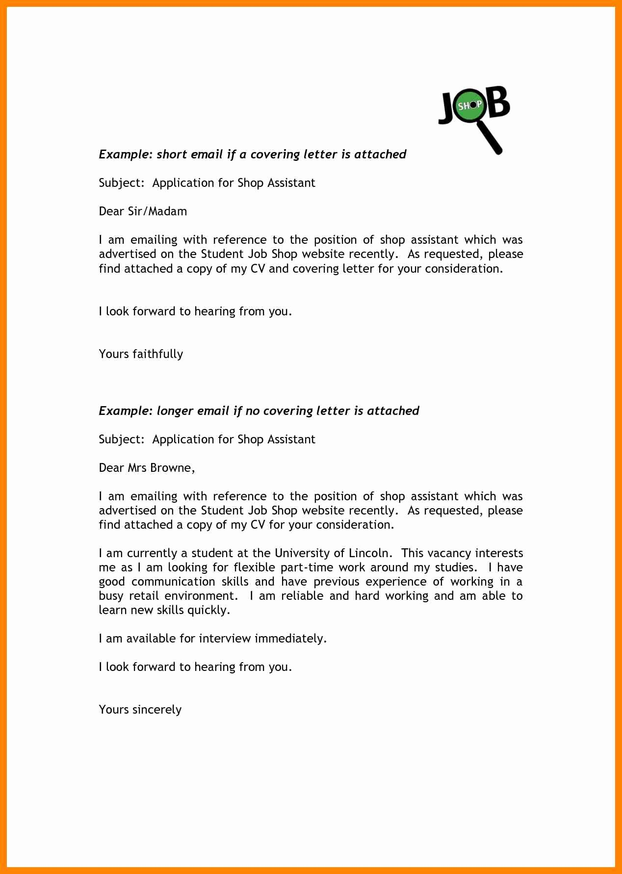 Short Cover Letter Example Unique 9 Short Cover Letter for Job Application