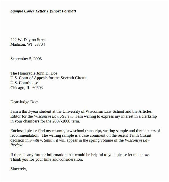 Short Cover Letter Sample Unique 55 Cover Letter Templates Pdf Ms Word Apple Pages