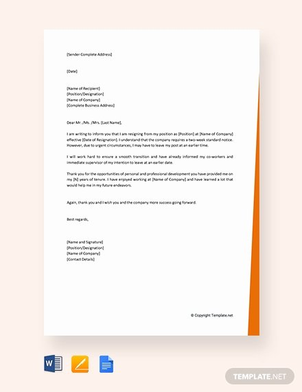 Short Notice Resignation Letter Awesome 142 Free Resignation Letter Templates In Google Docs