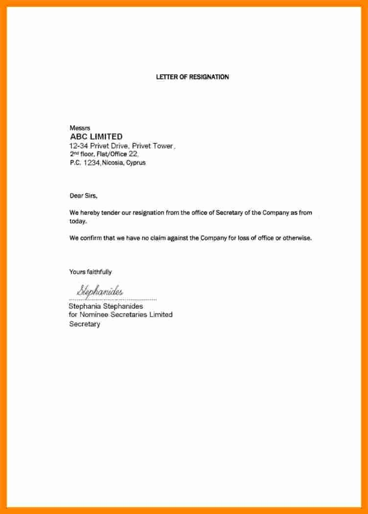 Short Notice Resignation Letter Beautiful 5 Short and Simple Resignation Letter Sample