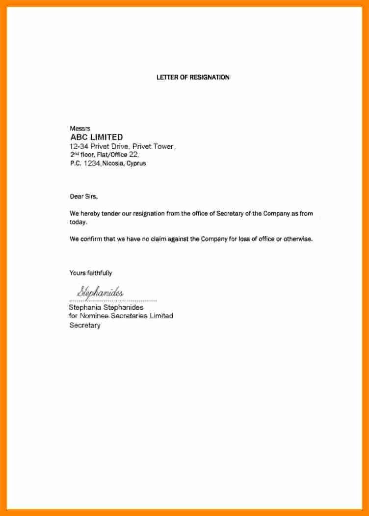 Short Notice Resignation Letter Beautiful 5 Short and Simple Resignation Letter Sample