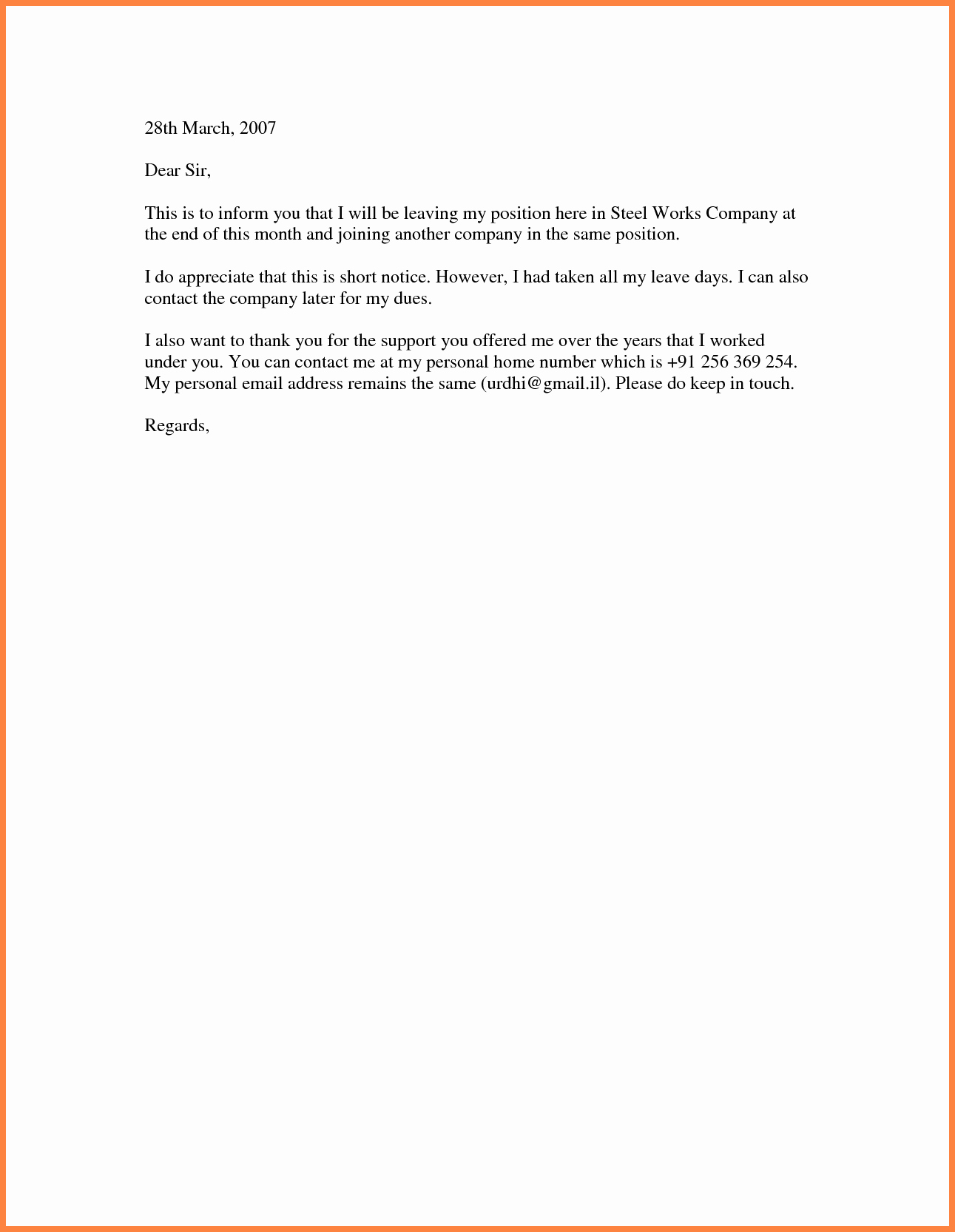 Short Notice Resignation Letter Beautiful 8 Short Resignation Letter Weeks Notice