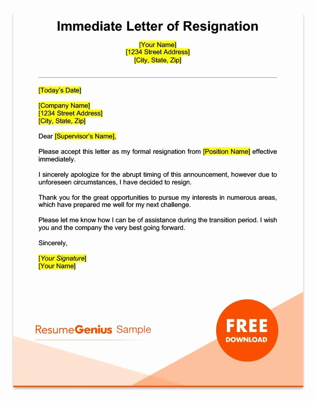 Short Notice Resignation Letter Elegant Life Specific Resignation Letters Samples