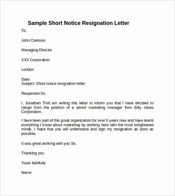 Short Notice Resignation Letter Elegant Sample Resignation Letter Short Notice 6 Free Documents