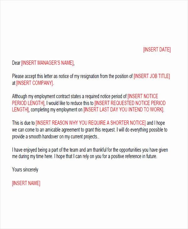 Short Notice Resignation Letter Fresh 65 Sample Resignation Letters