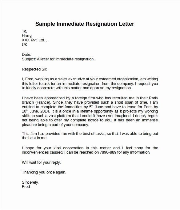 Short Notice Resignation Letter Inspirational Sample Resignation Letter Short Notice 6 Free Documents