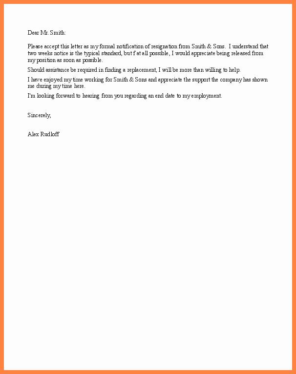 Short Notice Resignation Letter Luxury 8 Example Of Resignation Letter Short Notice