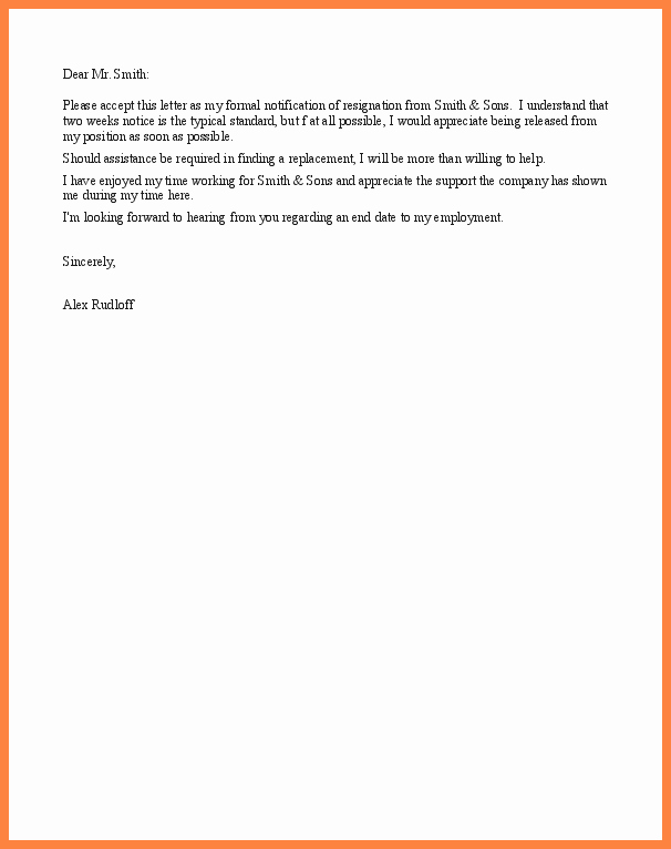 Short Notice Resignation Letter Luxury 8 Short Notice Resignation Letter Examples