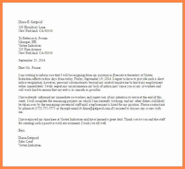 Short Notice Resignation Letter New 8 Example Of Notice Letter to Employer