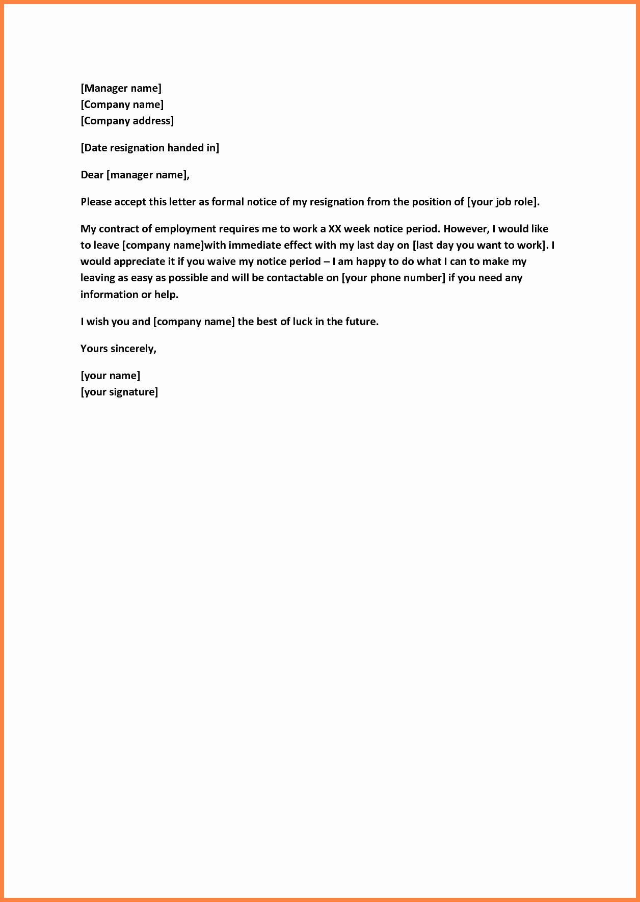 Short Notice Resignation Letter Unique 6 Sample Of Short Notice Resignation Letter