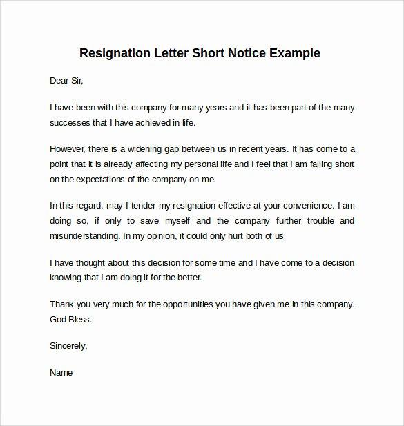 Short Notice Resignation Letter Unique Sample Resignation Letter Short Notice 6 Free Documents