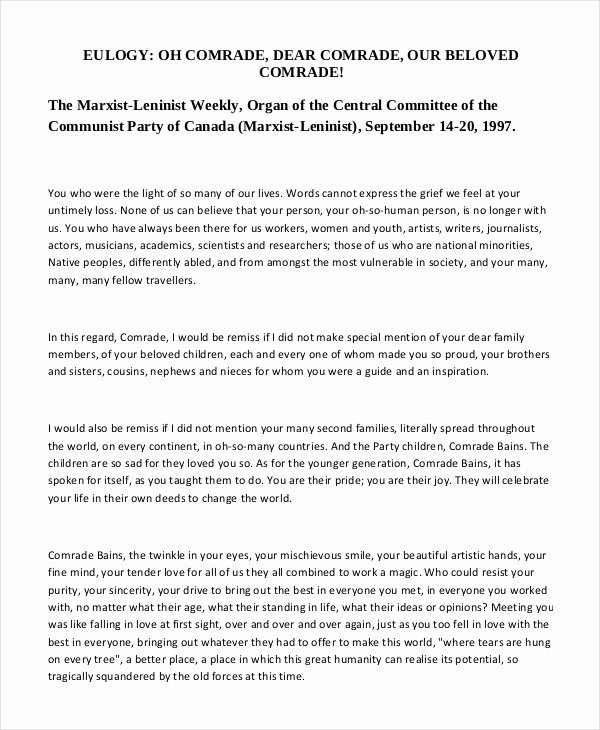 Short Simple Eulogy Examples Awesome 21 Eulogy Examples Pdf Docs Psd