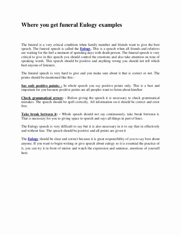 Short Simple Eulogy Examples Awesome Examples Eulogies