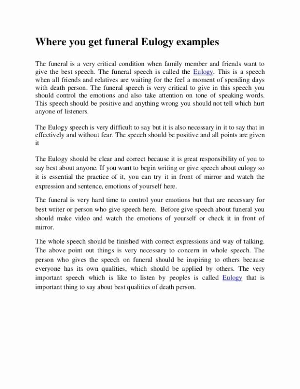 Short Simple Eulogy Examples Inspirational Short Eulogy Examples Template