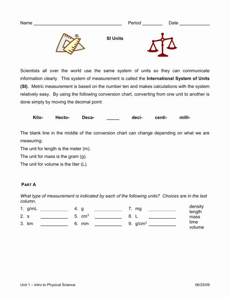 Si Unit Conversion Worksheet Inspirational Units & Unit Conversions Worksheet
