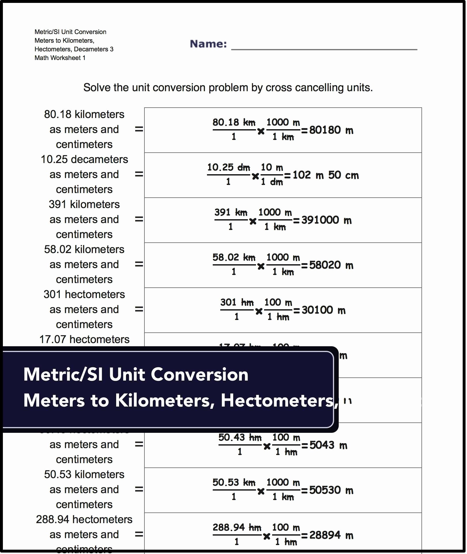 Si Unit Conversion Worksheet New Metric Si Unit Conversions for Metric Si Unit Conversion