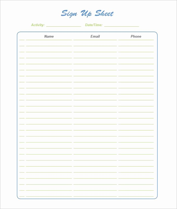 Sign Up Sheet Example Beautiful 21 Sign Up Sheet Templates Free Word Excel & Pdf