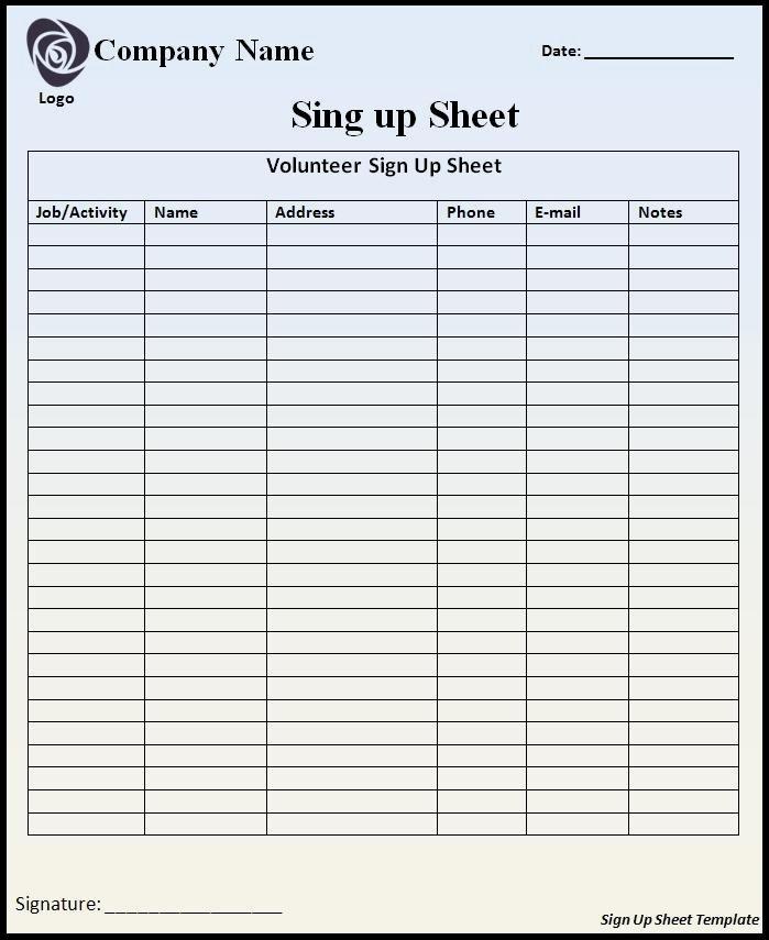 Sign Up Sheet Example Beautiful Sign Up Sheet Template