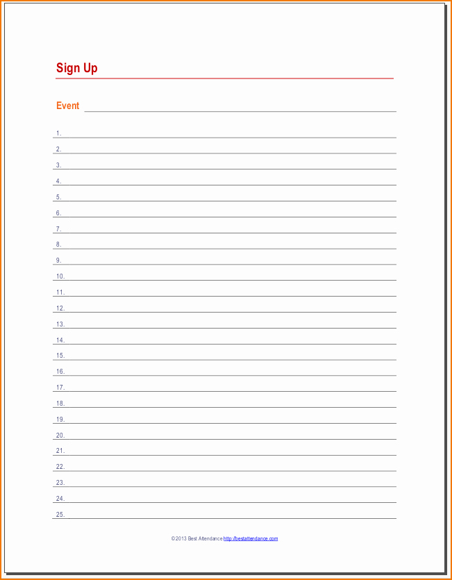 Sign Up Sheet Example Fresh 4 Sign Up Sheet Templates