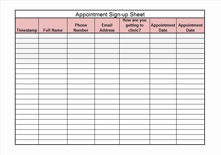 Sign Up Sheet Example Fresh 40 Sign Up Sheet Sign In Sheet Templates Word & Excel